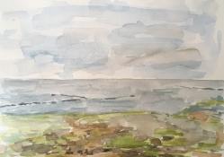 "Louis Bramer, aquarel ""het wad"" afm. 20 x 30 cm."