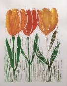 "Louis Bramer, linosnede ""tulpen"" afm. 18 x 20 cm."