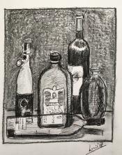 """Louis Bramer, inkt- en krijttekening """"after the party"""" afm. 30 x 35 cm."""