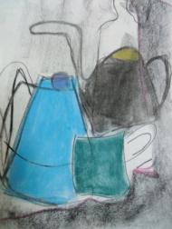 "Gonny van der Weerd, pasteltekening ""stilleven"" afm. 39 x 29 cm."