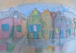 """Gonny van der Weerd, pasteltekening """"straatje"""" afm. 39 x 31 cm."""