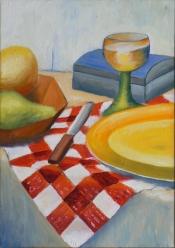 "Dick Bout, acryl-olieverf ""stilleven 1"" afm. 40 x 50 cm."