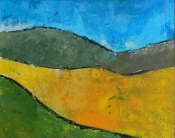 "Dick Bout, acryl ""landschap"" afm. 40 x 50 cm"