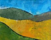 """Dick Bout, acryl """"landschap"""" afm. 40 x 50 cm"""