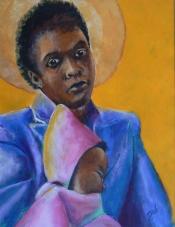 "Dick Bout, acryl ""zwarte madonna 2"" afm. 50 x 65 cm."