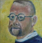 "Dick Bout, acryl ""zelfportret"" afm. 30 x 30 cm."