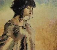 "Bea Kattenberg, olieverf met paletmes ""dromen mag"", afm. 80 x 100cm."