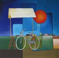 """Marius Dorgelo, gouache """"fiets bij kersenkraam"""" afm. 40 x 40 cm."""