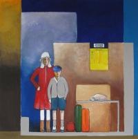 """Marius Dorgelo, gouache """"wachten op de bus"""" afm. 40 x 40 cm."""