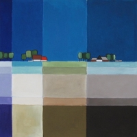"Marius Dorgelo, gouache ""polderlandschap"" afm. 40 x 40 cm."