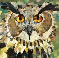 """Bea Kattenberg, olieverf met paletmes """"oehoe"""", afm. 50 x 50cm."""