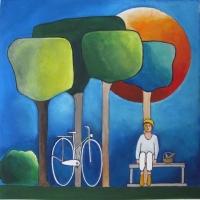 "Marius Dorgelo, gouache ""picknicken"" afm. 40 x 40 cm."