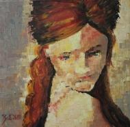 "Bea Kattenberg, olieverf met paletmes ""portet 1"", afm. 30 x 30cm."