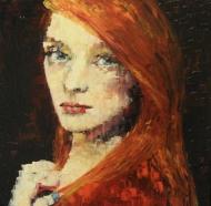 "Bea Kattenberg, olieverf met paletmes ""portret 2"", afm. 30 x 30cm."