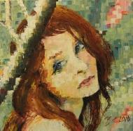 "Bea Kattenberg, olieverf met paletmes ""portret 3"", afm. 30 x 30cm."
