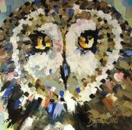 "Bea Kattenberg, olieverf met paletmes ""ransuil"", afm. 50 x 50cm."