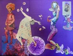 "Karel Otten, collage ""The show must go on"" afm. 40 x 50 cm."