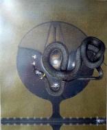 """Karel Otten, collage """"giant snake"""" afm. 30 x 40 cm."""