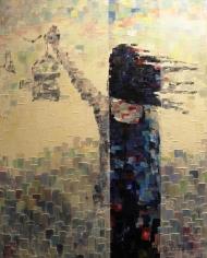 "Bea Kattenberg, olieverf met paletmes ""vrijheid"", afm. 100 x 130cm."
