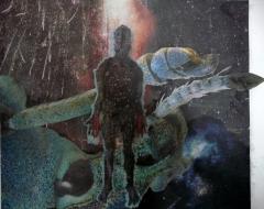"""Karel Otten, collage """"waar ben ik"""" afm. 40 x 50 cm."""