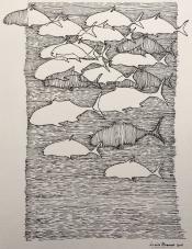 "Louis Bramer, pentekening, ""diepzee"", afm. 28 x 35 cm."