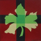 Jan Brokkelkamp, acryl op papier, uitgangspunt realistische met geometrische vorm afm. 20 x 20cm.