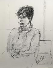"""Louis Bramer, conté-tekening, """"portret violist"""", afm. 30 x 40 cm."""