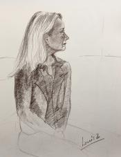 "Louis Bramer, conté-tekening, ""portret jonge vrouw"", afm. 30 x 40 cm."