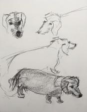 "Louis Bramer, conté-tekening, ""getackeld"", afm. 20 x 30 cm."
