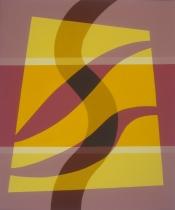 Jan Brokkelkamp, acryl op papier, combinatie tussen geometrische en een organische vorm, afm. 60 x 50cm.