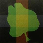 Jan Brokkelkamp, acryl op papier, uitgangspunt realistische met geometrische vorm, afm. 20 x 20cm.
