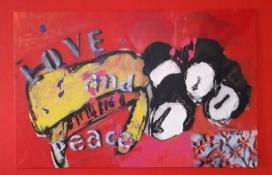 """Bea van Dillen, acrylschilderij """"Beatles"""", afm. 115 x 75 cm."""