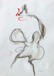 """Gonny van der Weerd, aquarelkrijt """"kip"""" afm. 27 x 23 cm."""