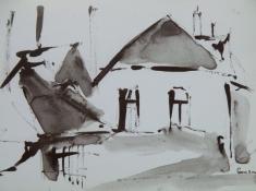 """Gonny van der Weerd, inkttekening """"boerderij st.Nicolaasdijk"""" afm. 15 x 10 cm."""