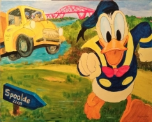 """Atty Kraeima, acryl op linnen """"Donald Duck"""" afm. 40 x 50 cm."""
