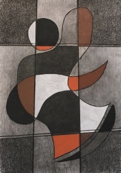 Jan Brokkelkamp, combi houtskool/siberisch krijt/pastel zonder titel afm. 100 x 70 cm.