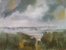 """Diny Schaap, pastel """"duinen"""" afm. 30 x 23 cm."""
