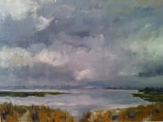 "Diny Schaap, acryl ""de IJssel"" afm. 45 x 30 cm."