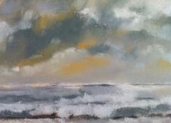 """Diny Schaap, pastel """"zee"""" afm. 30 x 23 cm."""
