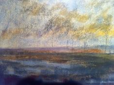 """Diny Schaap, pastel """"landschap"""" afm. 45 x 30 cm."""