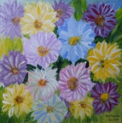 "Atty Kraeima, acryl op canvas ""Gerbera's"" afm. 25 x 25 cm."