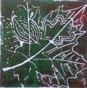 """Atty Kraeima, linosnede """"Herfst"""" afm. 16 x 16 cm."""