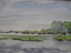 """Diny Schaap, aquarel """"de IJssel"""" afm. 30 x 20 cm."""