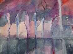 """Diny Schaap, aquarel """"weerspiegeling"""" afm. 32 x 20 cm."""