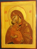 "Atty Kraeima, Icoon op hout ""Moeder Gods van Ontferming"" afm. 18 x 24 cm."