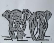 "Bea van Dillen, linosnede ""olifanten"", afm. 22 x 25 cm."