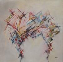 "Margriet Westendorp, acryl op doek ""vrij werk zonder titel"" afm. 50 x 50 cm."