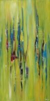 "Margriet Westendorp, acryl op doek ""vrij werk zonder titel"" afm. 30 x 60 cm."