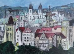 """Bea van Dillen, acrylschilderij """"Praag"""", afm. 30 x 40 cm."""