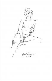 "Henk Werner, pentekening ""naakt"" afm. ca. 18 x 26 cm."